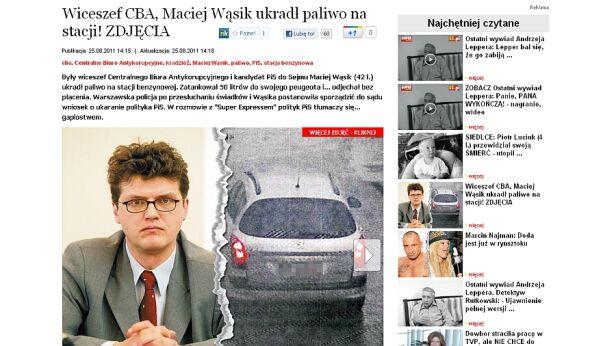"""""""Super Express"""" oskarża polityka o kradzież paliwa / fot. SE.pl"""