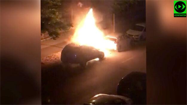 """Płonęło auto w Wilanowie. """"Nadpaliło się drugie"""""""