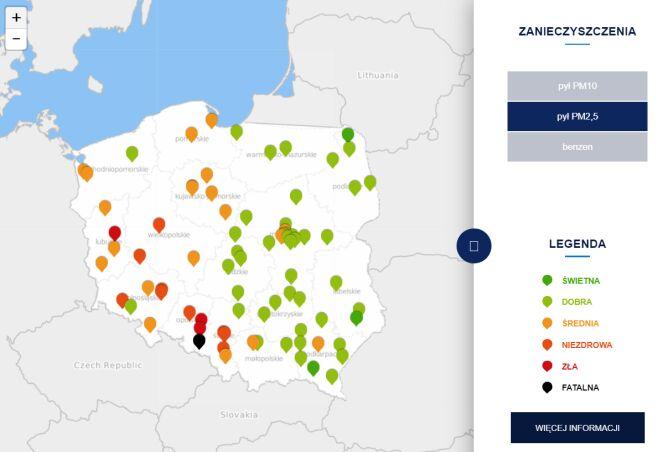 Stężenie pyłu PM2,5 po godzinie 13 (tvnmeteo.pl za GIOŚ)