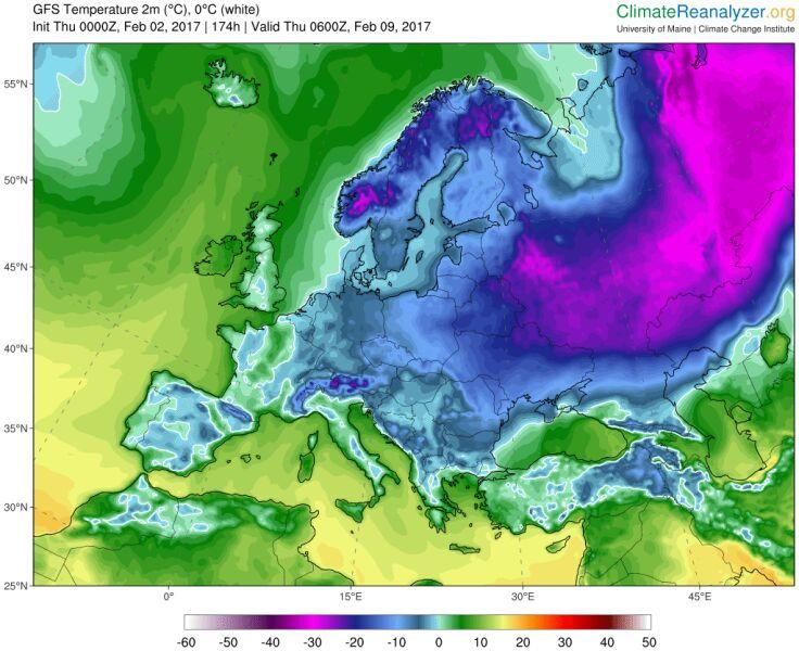 Prognoza temp. na czwartek 9 lutego (University of Maine)