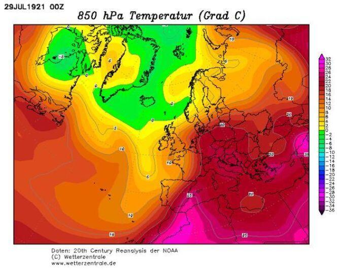 Mapa - temperatura na wysokości 1,5 km w dniu 29 lipca 1921 roku według reanalizy NOAA, archiwum niemieckiej wetterzentrale