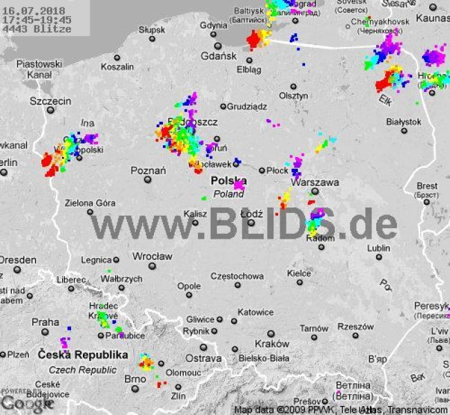 Ścieżka burz w godzinach 17.45-19.45 (blids.de)