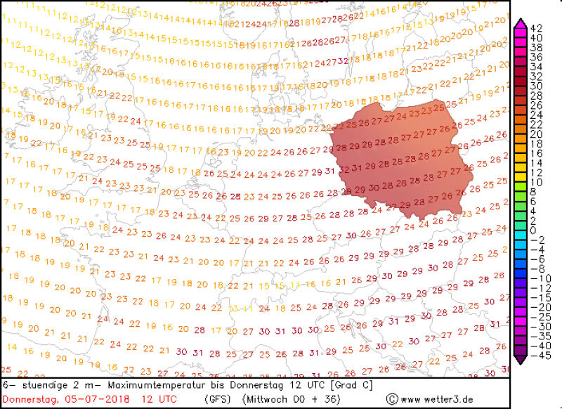 Temperatura w czwartek 5 lipca po południu (model GFS/wetter3.de)